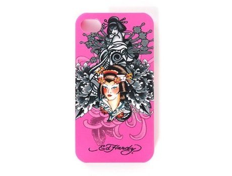 Capa ED HARDY Hard Shell Geisha Collage iPhone 4, 4s Rosa — Compatibilidade: iPhone 4, 4s