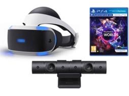771890549 Óculos de Realidade Virtual PS4  PS VR + Câmara PS VR + Jogo PS VR Worlds