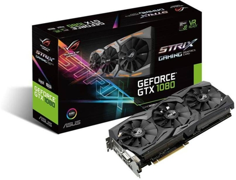 Placa Gráfica ASUS GEFORCE STRIX GTX1080-A 8GB GAMING — GeForce GTX 1080 / 1670 Mhz / 8GB GDDR5 / Auscultadores