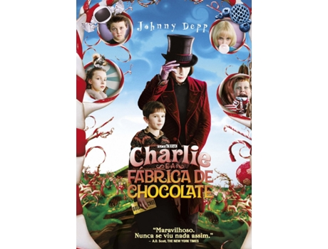 DVD Charlie e a Fábrica De Chocolate — De: Tim Burton | Com: Johnny Depp,Freddie Highmore,David Kelly,Helena Bonham Carter