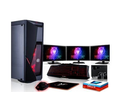 Pack Gaming FIERCE Cobra - 883691 (Desktop Gaming + 3 Monitores 21.5'' + Altifalantes 2.1) — Windows 10 Home | Wi-Fi