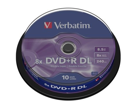 DVD+R VERBATIM 8.5GB Doble Layer Cake 10 — 8.5 GB/ 8x / 10 unid.