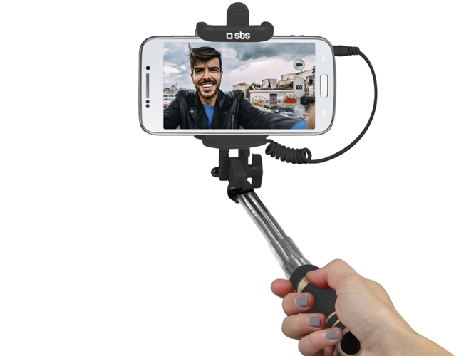 Mini Selfie Stick SBS c/ Cabo Jack 3.5mm — Compatibilidade: Smartphone