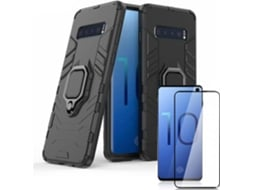 Kit Capa e Película Vidro 5D Full Cover Samsung Galaxy S10+ 3x1 Military Defender Preto