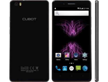 Smartphone CUBOT X16 S 16GB Preto — Android 6.0 / 5.0'' / Quad-core 1.3 GHz / 3GB RAM / Dual SIM