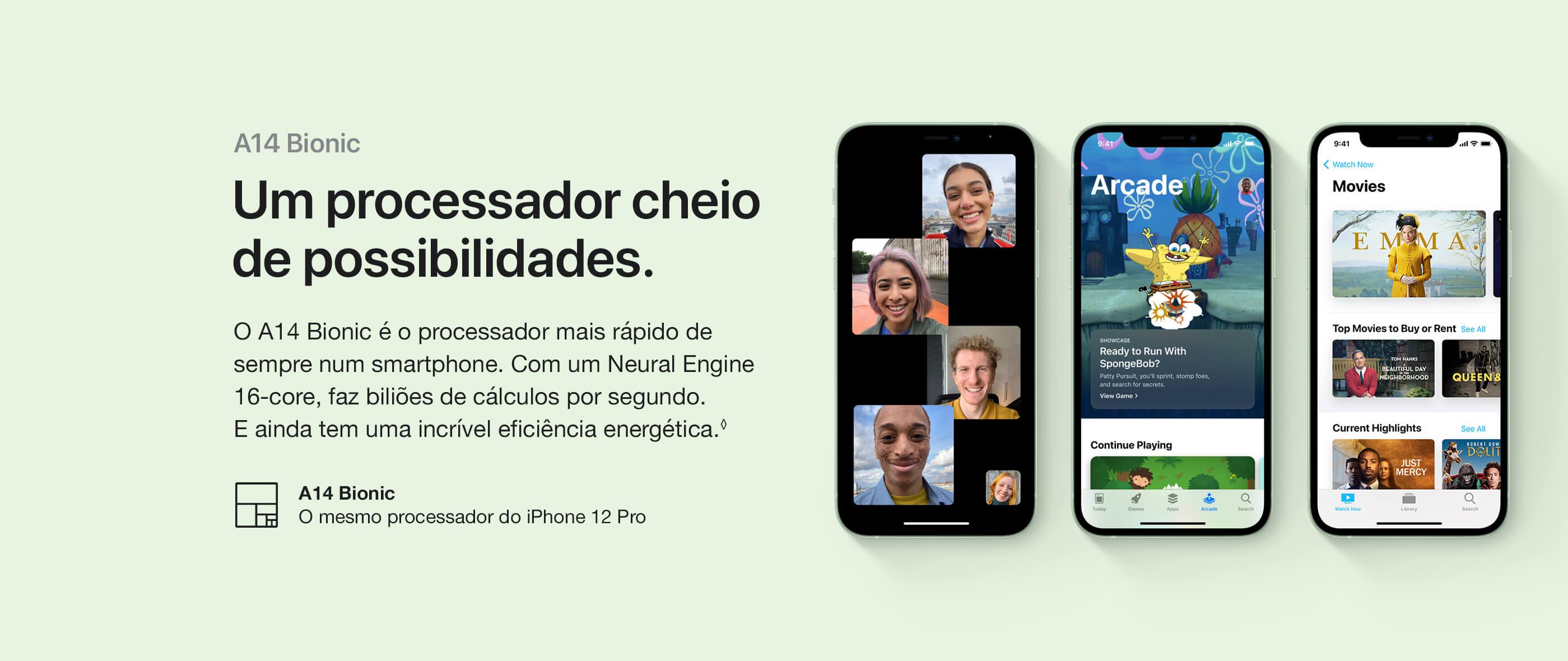 iPhone 12 e iPhone 12 Mini Processador A14 Bionic