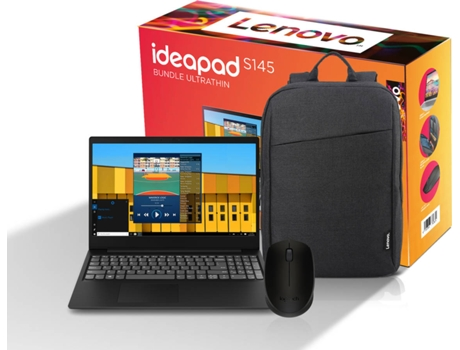 Pack Ultrafino LENOVO Ideapad (Portátil S145-15IWL-408 + Mochila + Rato M170) — Windows 10 Home | Full HD