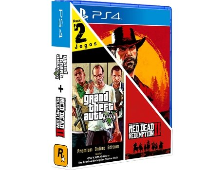Pack 2 Jogos PS4 GTA V + Red Redemption 2 (M18)