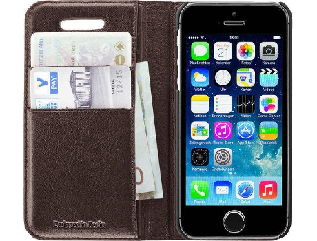 Capa ARTWIZZ Wallet iPhone 5, 5S, SE Castanho — Compatibilidade: iPhone 5, 5S, SE