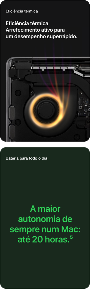 MacBook Pro 13'' Eficiência Térmica e Bateria até 20 Horas