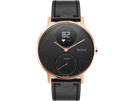 Relógio Desportivo NOKIA Steel HR36mm Rose Gold e Black Leather — Bluetooth / Autonomia: Até 25 dias