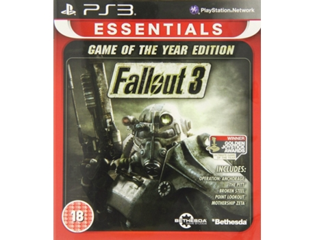 Jogo PS3 Fallout 3 Game of the Year Edition Essentials — FPS | Idade Mínima Recomendada: 18