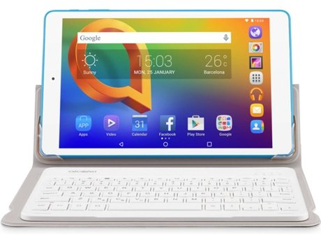 Tablet 10.1'' ALCATEL A3 16GB WIFI com Teclado Branco — 10.1'' | 16 GB | Android 5.1