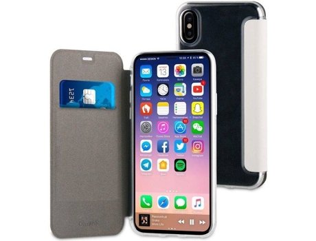 Capa MUVIT Folio iPhone X Prateado — Compatibilidade: iPhone X
