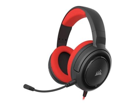 Auscultador Gaming com Fios CORSAIR Hs35 (On ear - Microfone - Vermelho)