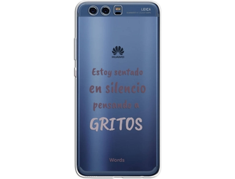 Capa WORDS Gritos Huawei P10 Plus Cinza — Compatibilidade: Huawei P10 Plus