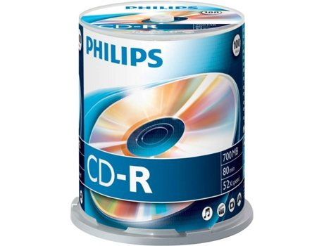 CD-R PHILIPS 80Min 700MB 52x Cakebox (100 unidades) — CD-R | 100 Unidades
