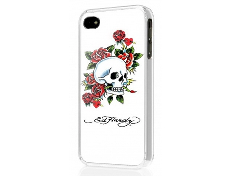 Capa ED HARDY Hard Shell Skull Roses iPhone 4, 4s Branco — Compatibilidade: iPhone 4, 4s