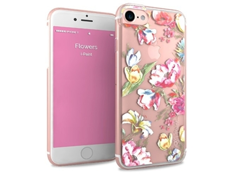 Capa I-PAINT Glamour Flowers iPhone 7, 8 Rosa — Compatibilidade: iPhone 7, 8