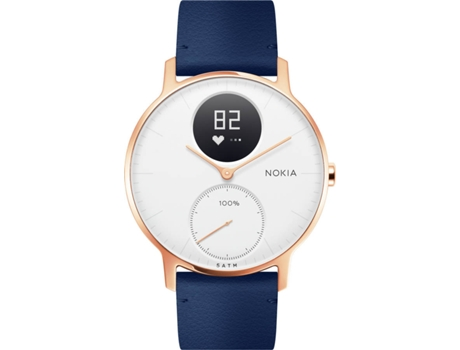 Relógio Desportivo NOKIA Steel HR36mm Rose Gold e Blue Leather — Bluetooth / Autonomia: Até 25 dias