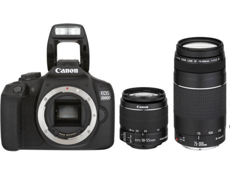 Kit Máquina Fotográfica Reflex CANON EOS2000D + 18-18-55 + 75-30 (24.1 MP -  Sensor  APS-C - ISO  100- 12800) 1daef292d77d