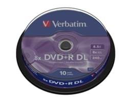 DVD+R VERBATIM 8.5GB Doble Layer Cake 10 — 8.5 GB/ 8x | 10 unid.