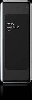 Galaxy Fold dobrado compacto e de utilização conveniente com uma mão, visto a partir da frente com Always on Display no ecrã.
