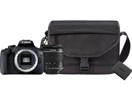 Kit Máquina Fotográfica Reflex CANON EOS 2000D + 18-55MM IS + Bateria Extra  +Bolsa (24.1 MP - Sensor  APS-C - ISO  100 a 6400) a4fd44e107e6