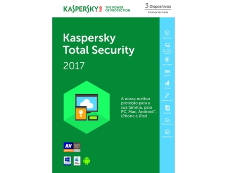 Software Antivírus KASPERSKY Total Security 2017 — 3 Dispositivos / 1 Ano