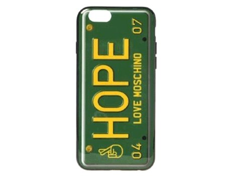 Capa MOSCHINO Love Hope iPhone 6, 6s Verde — Compatibilidade: iPhone 6, 6s, 7 ,8