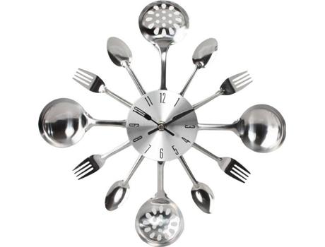 d4b207cb9d8 Relógio ITEM Parede Talher Cromado 33x4 cm