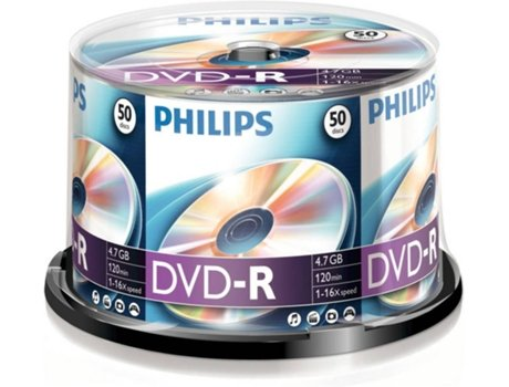 DVD-R PHILIPS 4,7GB 16x Cakebox (50 unidades) — DVD-R / 50 Unidades