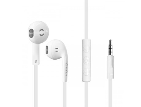 Auriculares com fio PURO IPHF17 em Branco — In Ear | Microfone | Atende chamadas