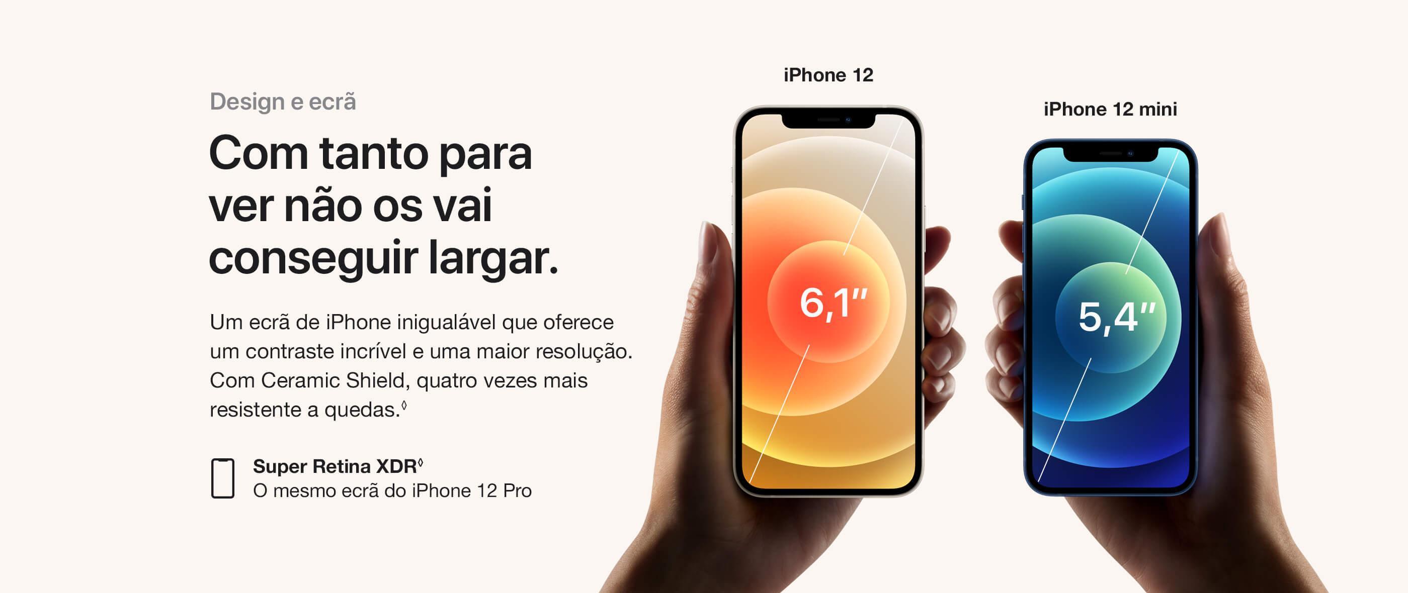 iPhone 12  e iPhone 12 Mini Design e ecrã