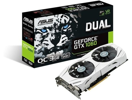 Placa Gráfica ASUS Dual GeForce GTX 1060 OC (NVIDIA - 3 GB DDR5) — GeForce GTX 1060 | 1809 MHz | 192 bit
