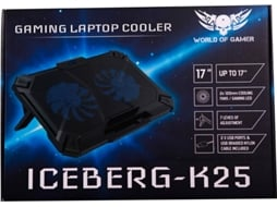 Cooler WORLD OF GAMER Iceberg K25 em Azul — Para PC de 15.6'' a 17''