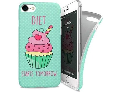 Capa I-PAINT Soft Cup Cake iPhone 7, 8 Verde — Compatibilidade: iPhone 7, 8
