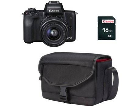 Kit Máquina Fotográfica Mirrorless CANON M50 + 15-45 mm (24.1 MP - Sensor: APS-C - ISO: 100 a 25600) — Estojo SB130 + Cartão SD 16 GB Preto