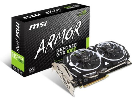 Placa Gráfica MSI GTX 1060 ARMOR 3G OCV1 3GB DDR5 — GeForce GTX 1060 | 8008 MHz | 3072 GB GDDR5