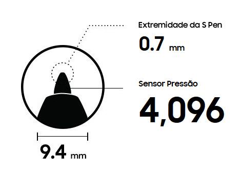 Pen Tip 0.7 mm | Sensor Pressão 4,096 | 9.4 mm
