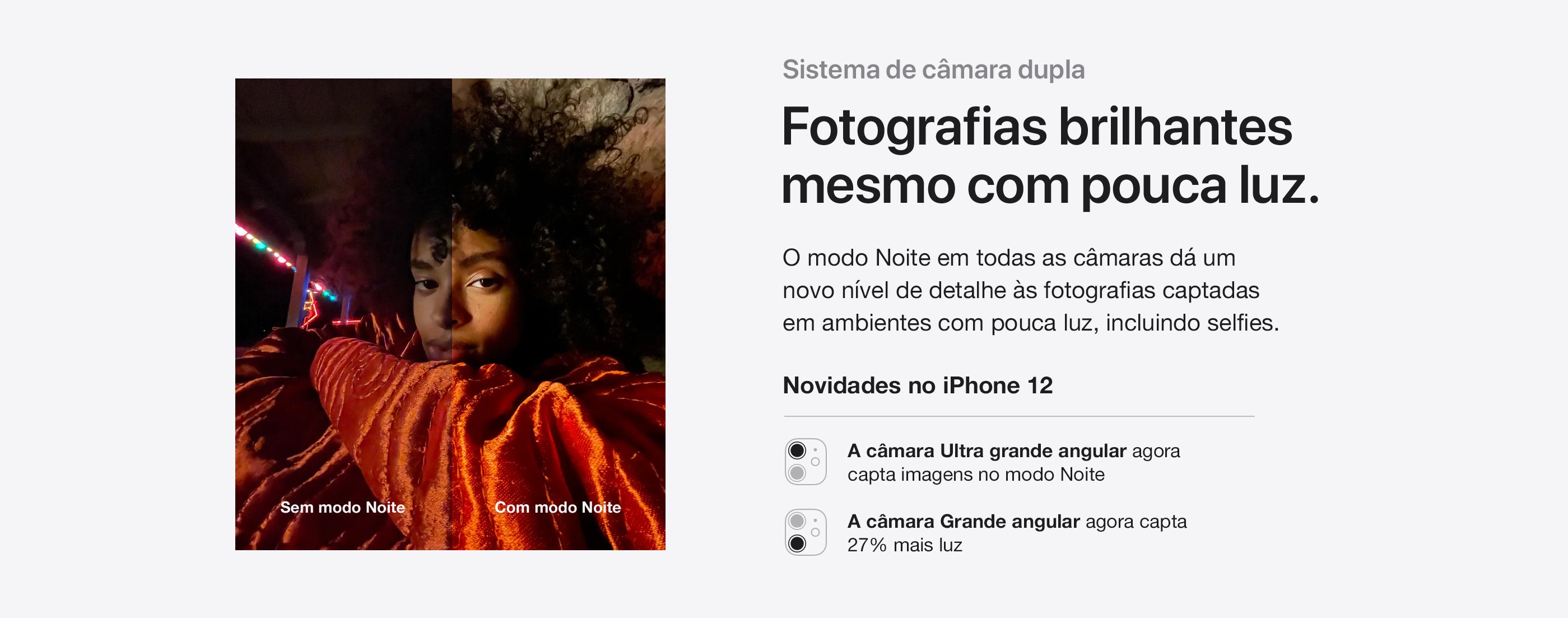 iPhone 12 e iPhone 12 Mini Sistema de câmara dupla