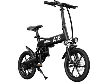 Marca do fabricante - Bicicleta Elétrica CROSS-COUNTRY Dobrável (16 - Preto - Autonomia: 45 km  Velocidade Máx: 25 km/h)