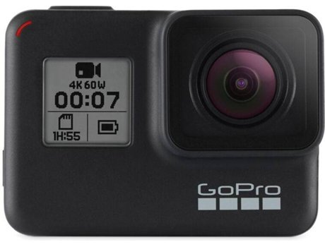 Action Cam GOPRO Hero 7 em Preto — 4K | Wi-Fi e Bluetooth | 12 MP