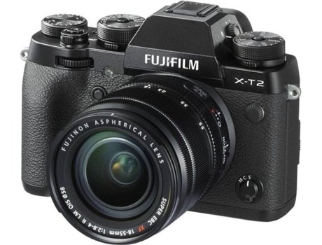 Máquina Fotográfica Mirrorless FUJIFILM X-T2 + XF 18-55mm (24.3 MP - Sensor: APS-C - ISO: 100 a 51200) — 24.3 MP | ISO 100 a 51200