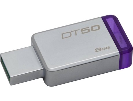 Pen USB KINGSTON DataTraveler 50 8GB USB 3.1 Metal/Roxo — 8GB/USB 3.0