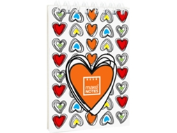 Bloco de Notas A7 MAKE NOTES Colorful Hearts — 60 folhas / Liso