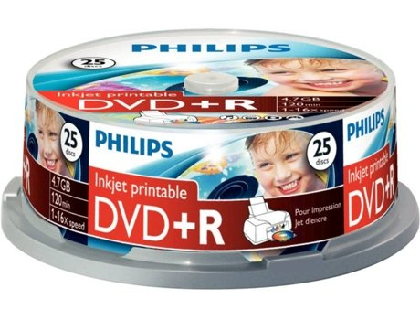 DVD+R PHILIPS 4,7GB 16x Printable mate Cakebox (25 unidades) — DVD+R / 25 Unidades