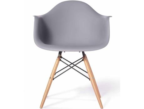 Cadeira de Visitante Neo, 62 x 82,5 x 62 cm, PP e Madeira, Cinzento