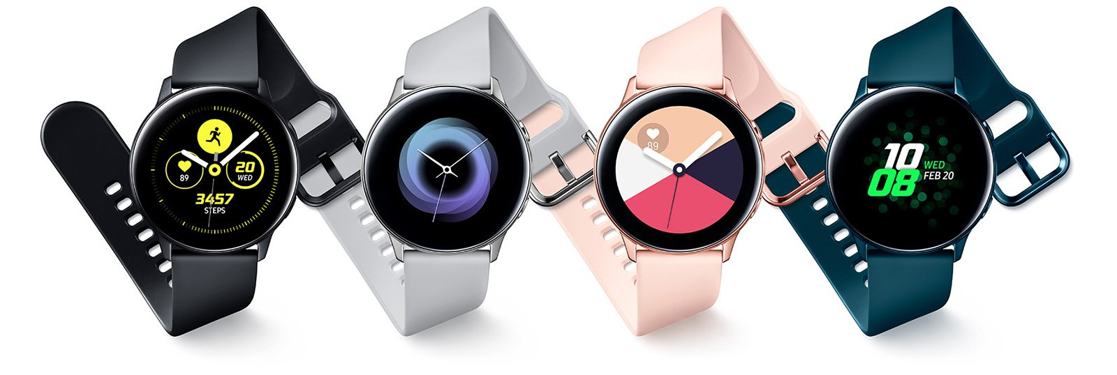 galaxy watch active black, silver, rose-gold, green