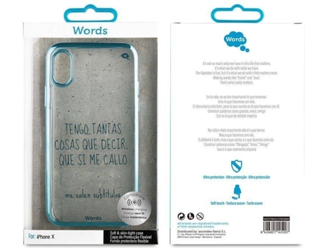 Capa WORDS Legendas iPhone X Transparente — Compatibilidade: iPhone X
